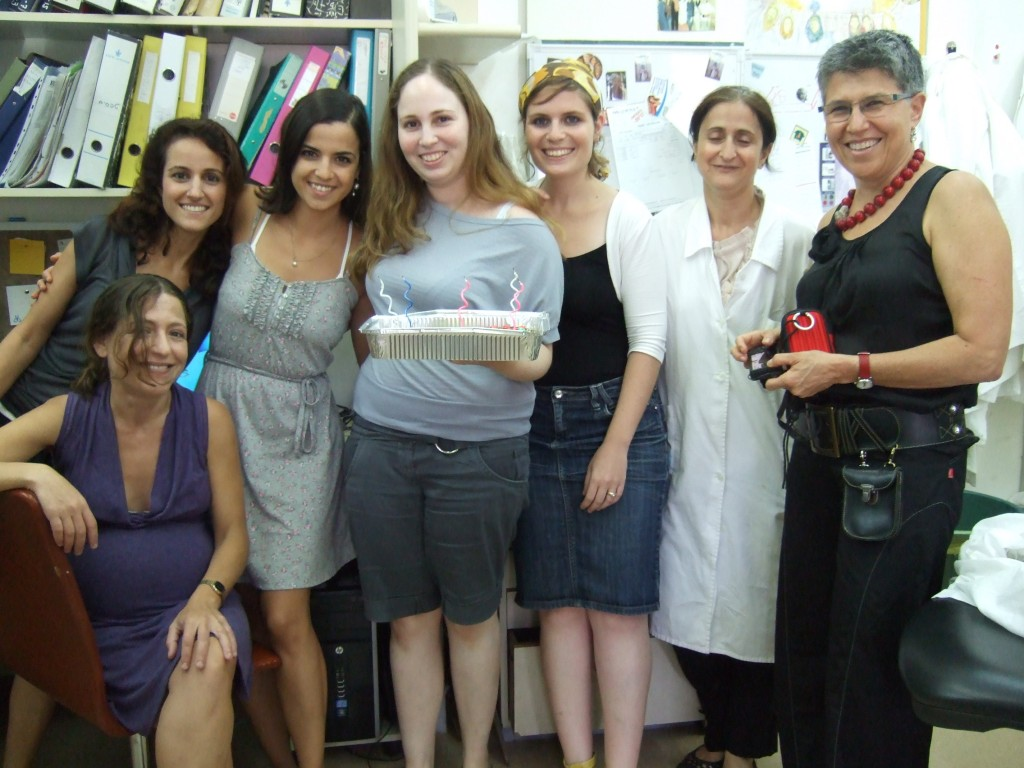 Sahar, Naamit, Yasmin, Dana, Dafni, Nathalie and Drorit, when the birthday cake was still intact. July 2012.