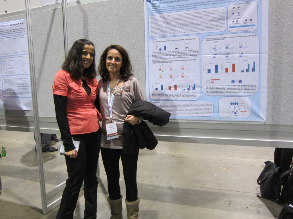 Yasmin and Naamit presenting the poster; ASH (American Society of Hematology) conference, December 2012, Atlanta, USA